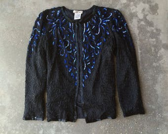 Vintage Black Sequin Jacket, Vintage Sequin Top, 1980s, Large, Black Beaded Blouse, AP Ltd