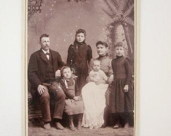 Family Portrait - Paper Ephemera - 1800s Photograph - Instant Ancestors - Mounted Sepia Print - Anis Smith Family, LaPorte City, IA