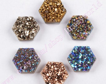 7x8mm Hexagon Colorful Natural Agate Titanium Druzy Cabochon CAB Real Drusy Gemstone Natural Titanium Druzy Geode Jewelry Gems LSH001-4