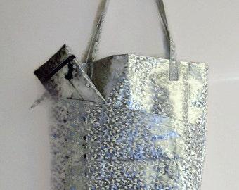 Tote bag, silver tote shopper, large market bag, metallic tote shopper, large shopping bag and purse set, metallic silver pouch, shopper.