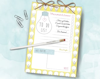 Bright Ideas Bulb A5 Daily Organiser Notepad To Do List and Pencil Set