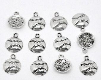 10 Pieces Antique Silver Baseball / Softball Charms