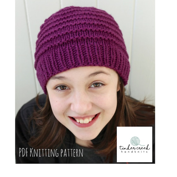 Childs Knitted Beanie Hat Pattern Girl
