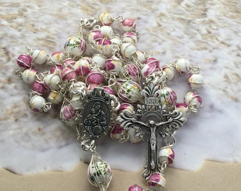 Wire wrapped rosary, Mother's Day rosary, womens rosary, catholic rosary gift, sturdy rosary, pink flower rosary, ready to ship, rosary