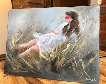 The girl on the grass, Original Oil Painting, Painting on Canvas, Mask, Masquerade