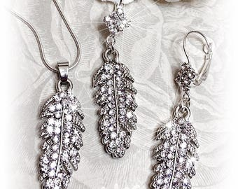 Crystal feather earrings and necklace set.  Wedding bridal jewelry.