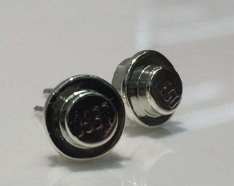 Lego Earrings, Handmade in Silver, Lego, Round Lego Piece