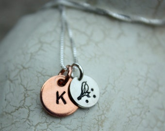 Custom Hand Stamped Necklace with Sterling and Copper Tags