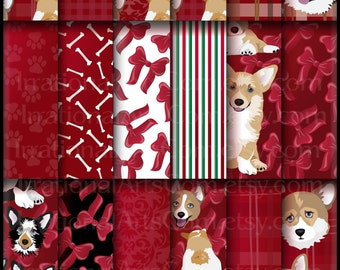 Corgi Fun set 5 Red - 18 digital scrapbooking papers wtih corgis in black brown and tricolored Christmas red bows [INSTANT DOWNLOAD]