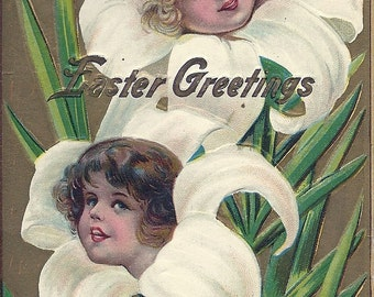 Antique Easter Postcard With Embossed Lilies