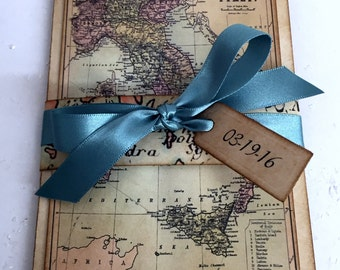 30 New Destination Card Invites with Lace Heart Pocket Inside/ Personalised Wedding Travel Invitations with Rsvp and Itinerary Card