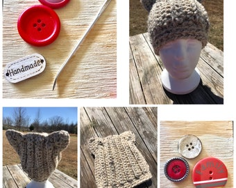 Kids Size Handmade Crochet Cat Slouch Hat (Thick & Warm)