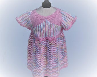 """Hand Knit  dress """"Sheyla"""" in a sweet pink, made of Organic wool.  100% handcrafted"""