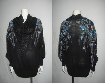 VTG Bonnie Boerer Black Multicolor Sequins Bead Heavily Embellish Cowl Neck Multifunctional Slouchy Drape Tunic Blouse Top Micro Short Dress