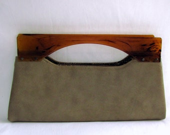 Vintage 1950s Clutch | Fawn Tan | Faux Leather | Handbag | Purse | Amber Acrylic Handles