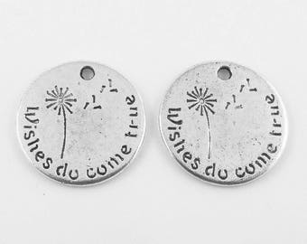 Bulk Wishes Do Come True Tag Charm Pendant Inspirational 20x20mm Select Qty