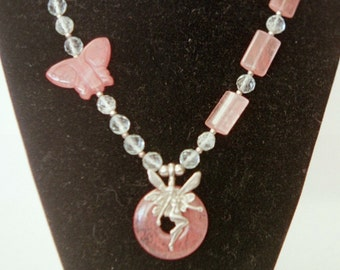 Cherry and aqua quartz fairy necklace with butterfly