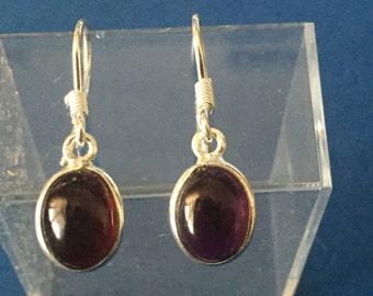 Garnet drop earrings sterling silver