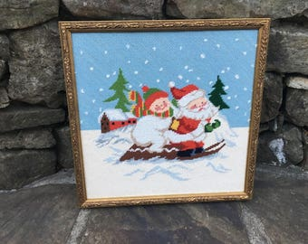 Vintage Christmas Needlepoint Santa Framed