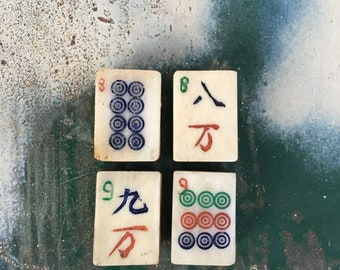 Vintage Mah Jong Magnet Set, Antique Mahjong Tile Magnets, Fridge Magnets, OOAK Magnet Gift Set