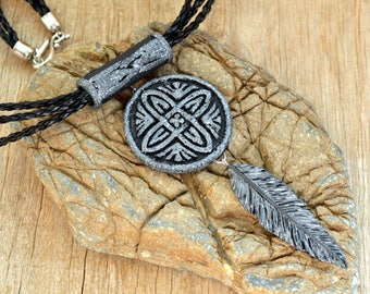 Celtic necklace Inspirational Mother gift for her Celtic pendant Celtic jewelry Boho necklace Boho jewelry Feather necklace Feather jewelry
