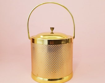Gold Ice Bucket, Mid Century Modern Bar Cart Accessories, Glam Ice Bucket Made in Italy Mad Men Style