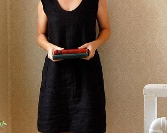 Cap Sleeve Black Linen Shift Dress // Handmade Linen Dress