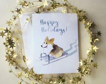 Corgi Christmas card / Corgi gifts / Corgi holiday card / Watercolor card