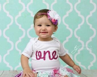 One Birthday Onesie One Birthday Shirt Glitter One Baby Birthday Onesie Baby Onesie Baby Shirt Baby Girl 1st Birthday Baby Gift Baby Outfit