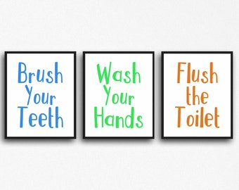 Bath Decor, Instant Download, jpg and pdf 8x10, Brush your teeth, wash your hands, flush the toilet, Colorful bathroom decor