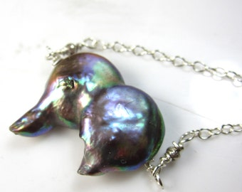 Fused Rainbow Shimmer Coin Pearl Necklace