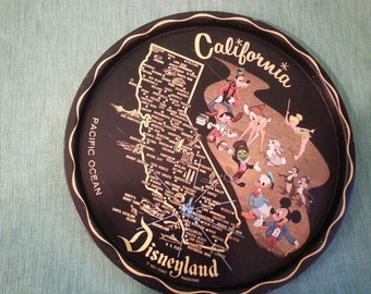 Vintage Collectible Tin Plate featuring California and  Disneyland