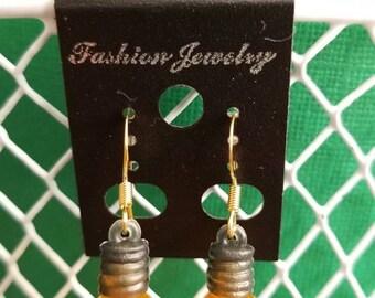 Yellow Christmas Bulb Earrings/Lightbulb/Christmas Tree