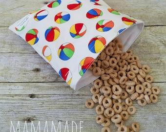 Beach Balls - Medium Reusable Sandwich Bag from green by mamamade