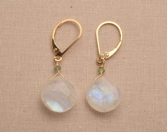 Moonstone Earrings, White Gemstone Earrings, Gold Leverback Earrings, Gemstone Drop Earrings, Healing Gemstone Jewelry