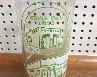 Vintage 1947 Gambles Department Store 22 Years of Progress Glass
