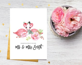 Card - Personalised Wedding Day Card, for the Happy Couple - Bride & Groom Flamingos