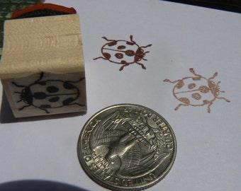 "P24 Miniature ladybug rubber stamp WM 0.5"""