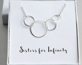 Four Sisters Necklace, 4 Sisters Necklace, Sterling Silver 4 Circles Necklace, 4 Rings Necklace, Sisters gift ideas, Unique Gift for Sisters