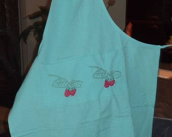 turquoise cotton with one pocket apron double nine embroidered raspberries