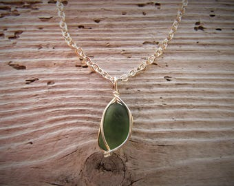 Green Sea Glass Wire Wrapped Necklace
