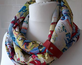 Scarf infinity with leather strap