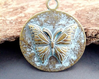 Brass Aged Patina Charm Pendant_CP0634565464_OF :1 in 8 _Brass  medal Butterfly_pack 3 pcs