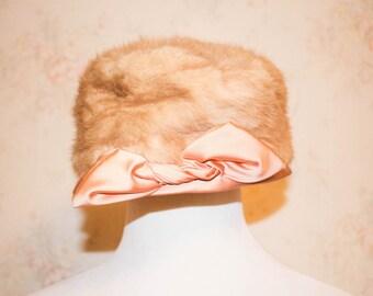 Vintage 1950s Fur Hat, 50s Pillbox Hat, Peach Satin, Bow, Blonde Mink