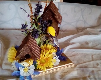 Bird House Centerpiece Table Decor Home Decor Indoor Decor Floral Decor