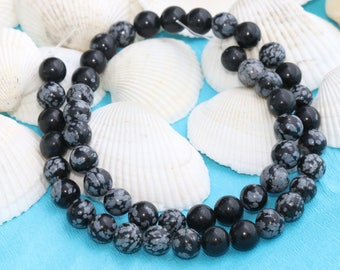8mm Full Strand (48PCS) Snowflake Obsidian Beads, Obsidian Beads, Natural Beads, Gemstone, MRY95