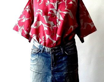 Free size Blouse woman oversize Shirt  in Red Print Cotton handmade