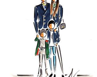 Custom Family Portrait, Custom portrait, Custom Fashion illustration, custom illustration , portrait illustration