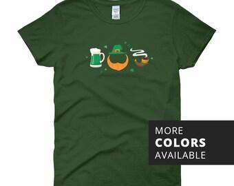 Women's Leprechaun Essentials T-Shirt | St Patrick's Day | Green Beer | Lucky Clover | Irish | Ireland | St Paddy's Day | St Patty's Day