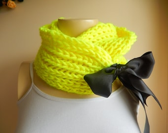 Neon Green Scarf-Thick Hand Knit Loop Scarf-Neon Green Neckwarmer/ Cowl